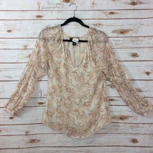 WHBM Peasant blouse metallic thread abstract print